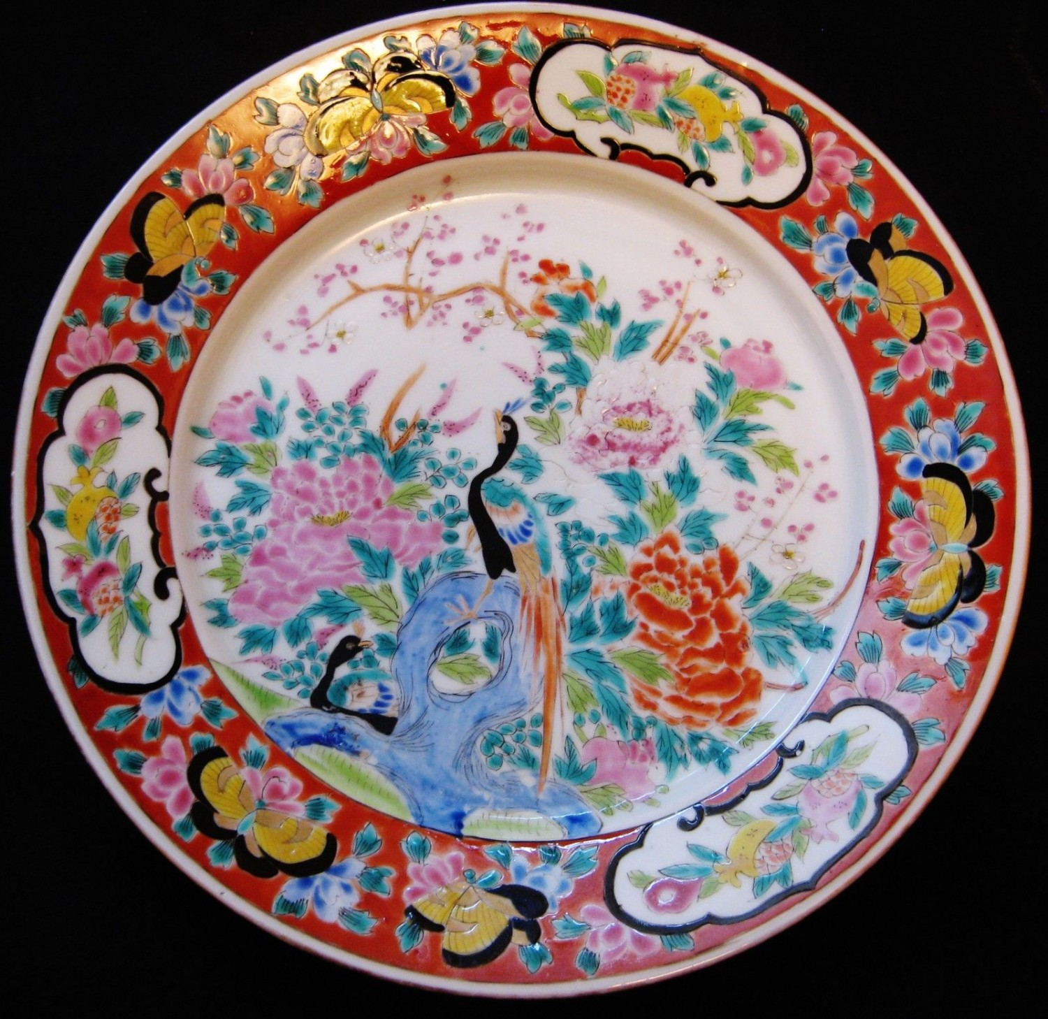 ANTIQUE CHINESE FAMILLE VERTE DISH , HAND PAINTED, RED MARKED, 19TH CENTURY, NR.