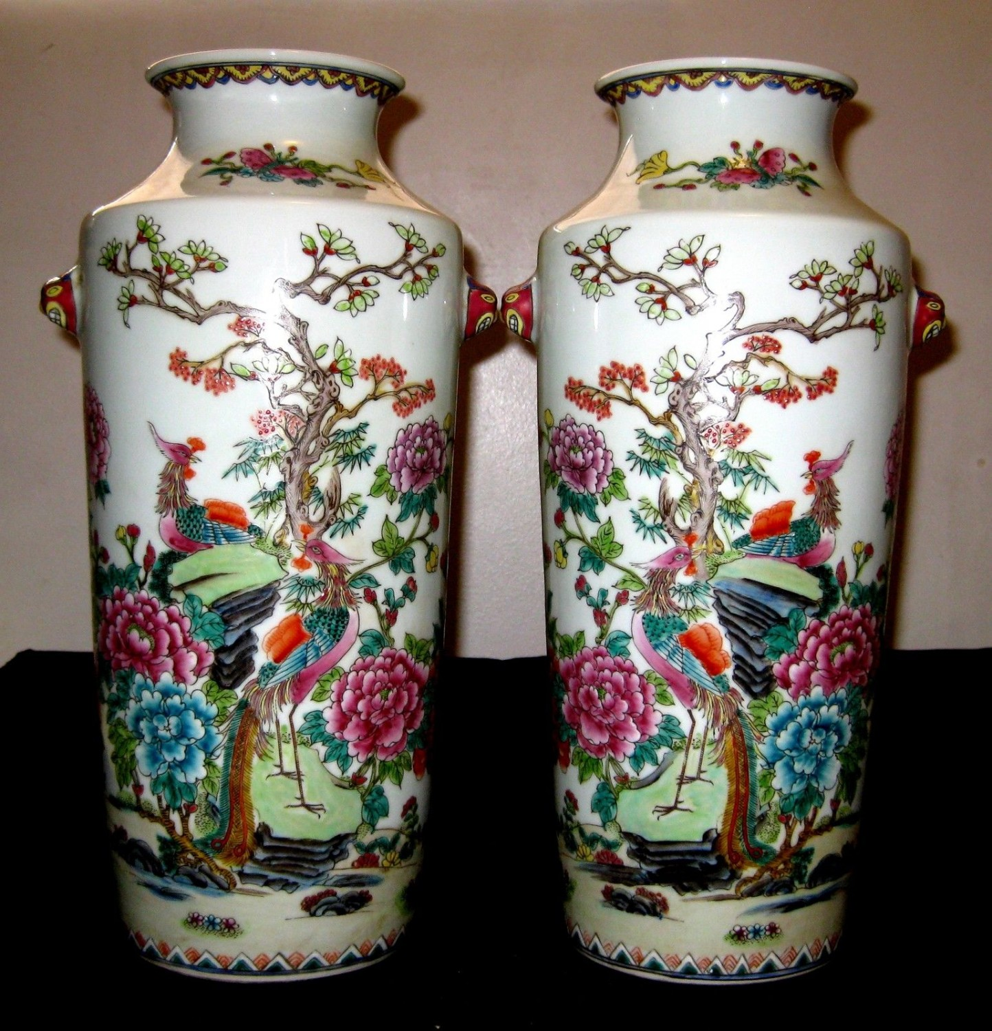 A Pair Of Rare Phoenix,Chinese Antique Vases.Qing Period, XianFeng Mark.