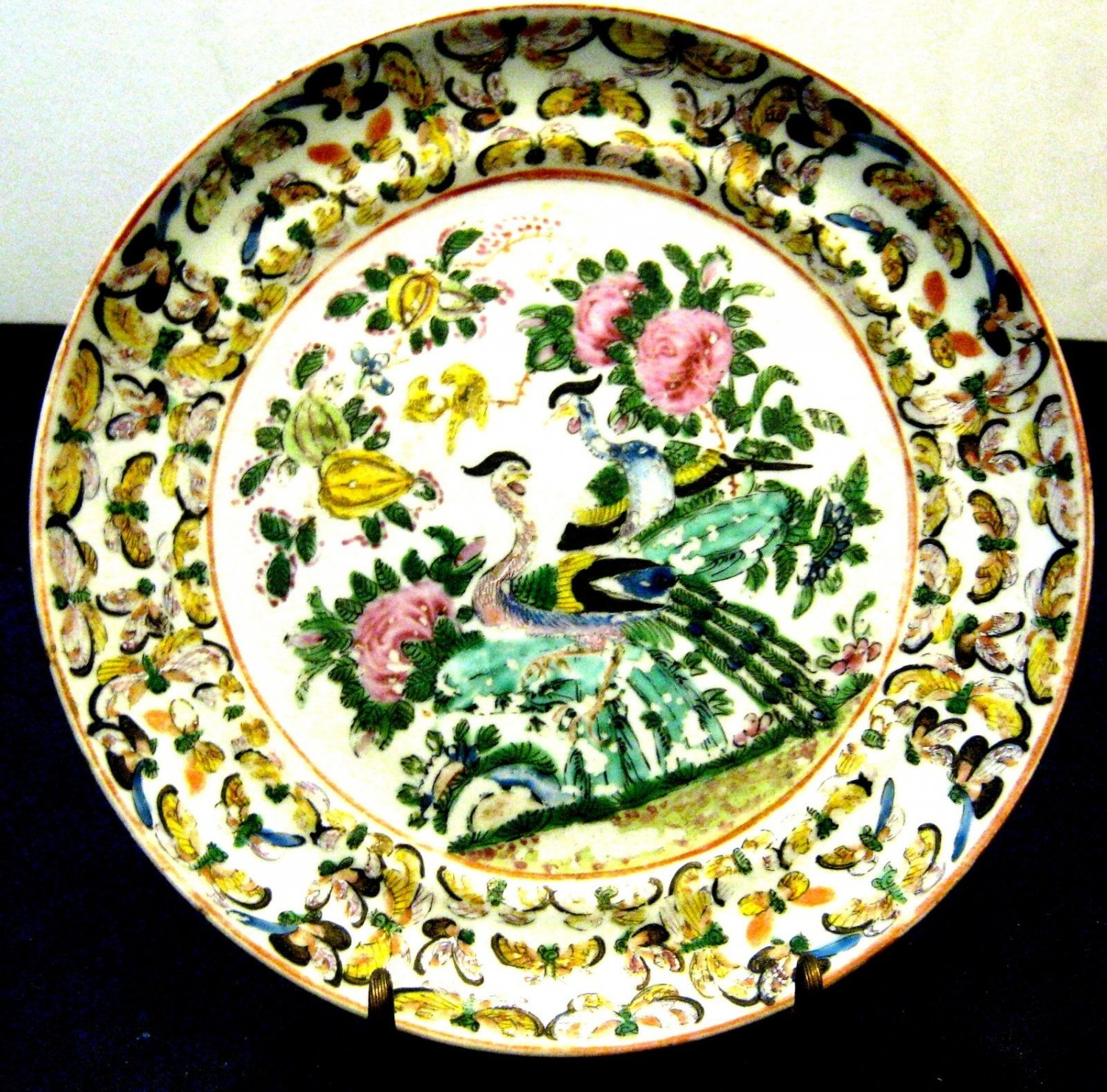 ANTIQUE CHINESE FAMILLE VERTE DISH , HAND PAINTED, 18TH CENTURY.