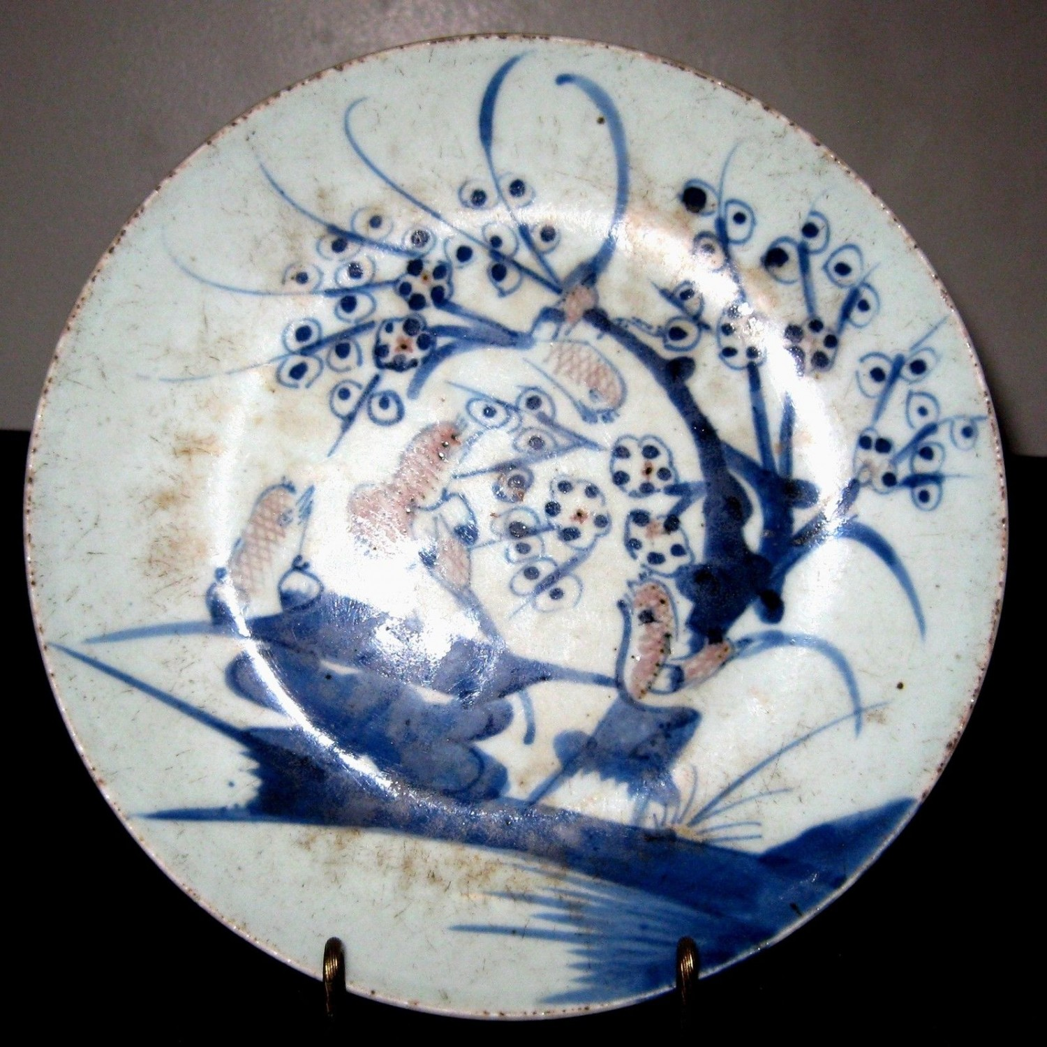 ANTIQUE CHINESE PORCELAIN BLUE & WHITE, BIRTH & FLOWER PLATE ,19TH CENTURY, NR.