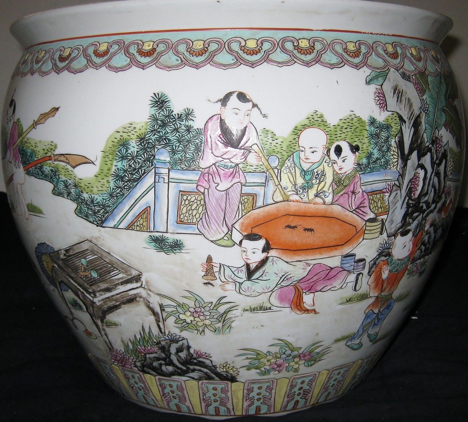 ANTIQUE HUGE CHINESE PORCELAIN FISH BOWL, GUANGXU MARK, 19TH CENTURY, NR.