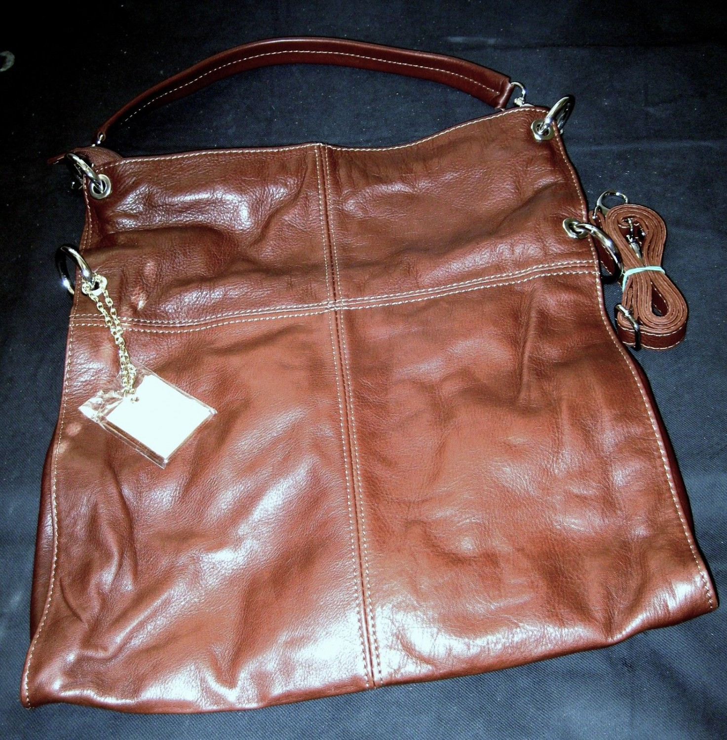100% ITALIAN GENUINE CALFSKIN LEATHER HANDBAGS BROWN COLOR