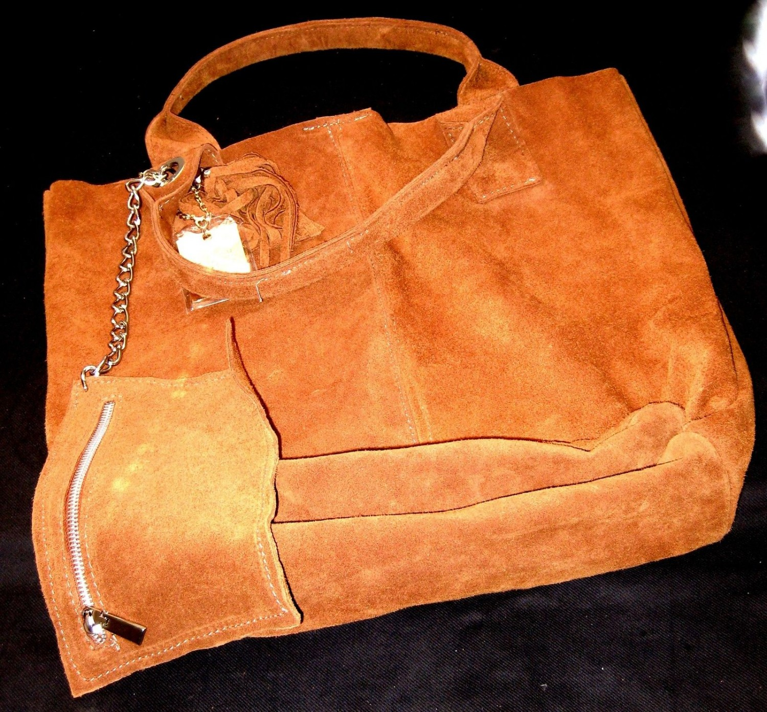 100% ITALIAN GENUINE SUEDE LEATHER HANDBAG ORANGE COLOR