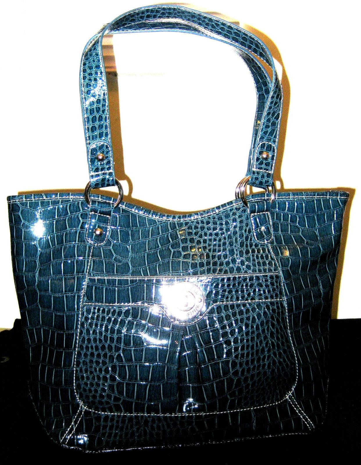 Nine West Victory Shopper Tote Medium Croc Embossed Bag Dark Green