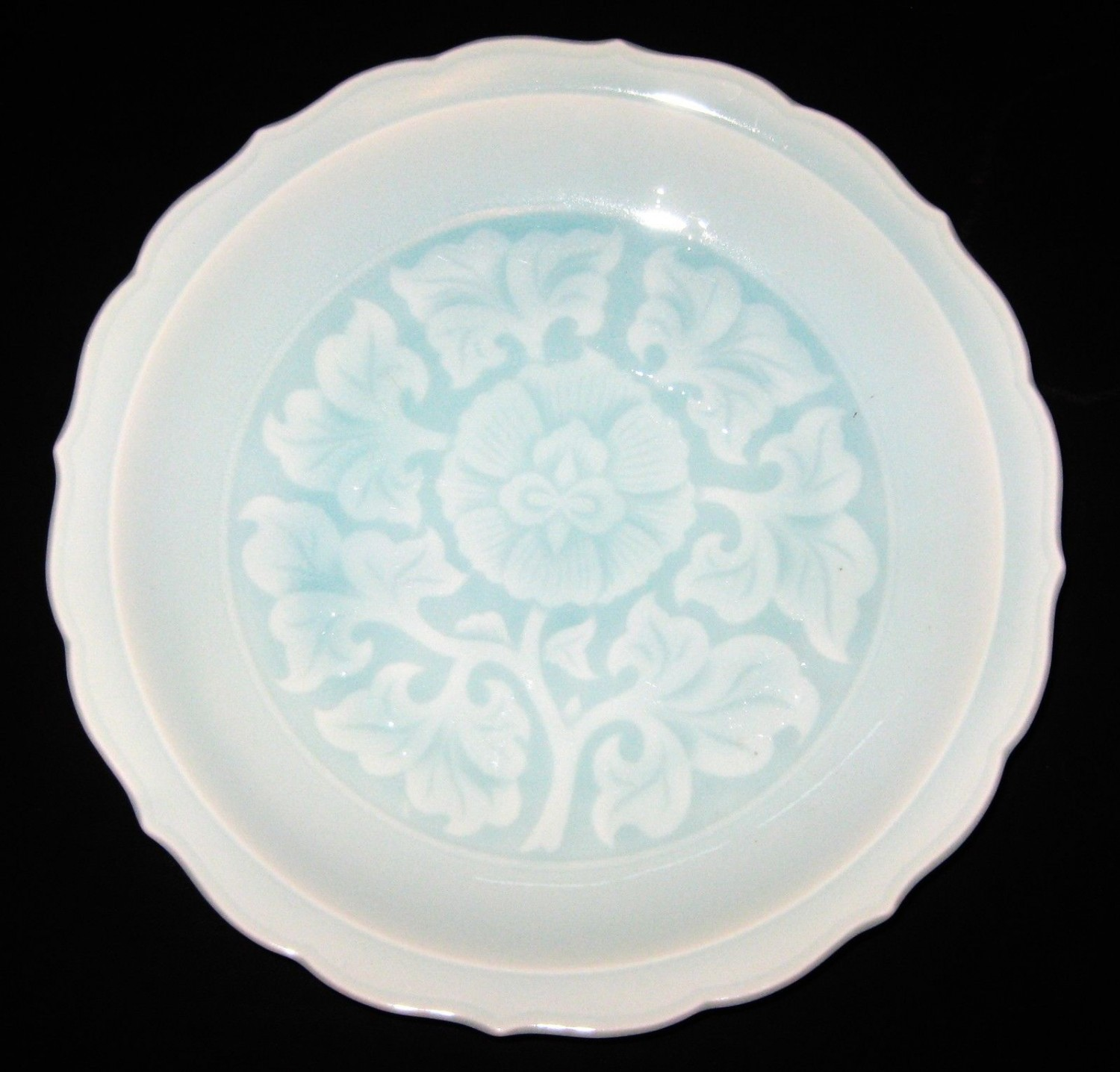 ANTIQUE CHINESE CELADON PORCELAIN BOWL, HAND- WRITING SIGNED- 19TH CENTURY.