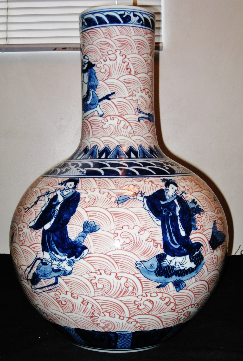 Chinese B&W Underglaze Red 8 Immortals Porcelain Vase,Dao Quang Mark,19thC. NR.
