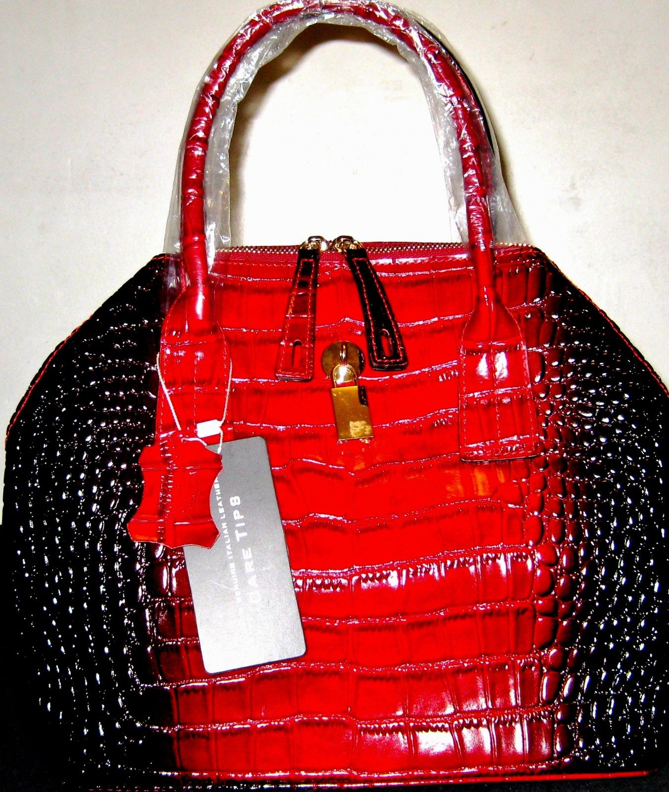 ITALY RED COWHIDE LEATHER HANDMADE WOVEN BRAID HANDBAGS