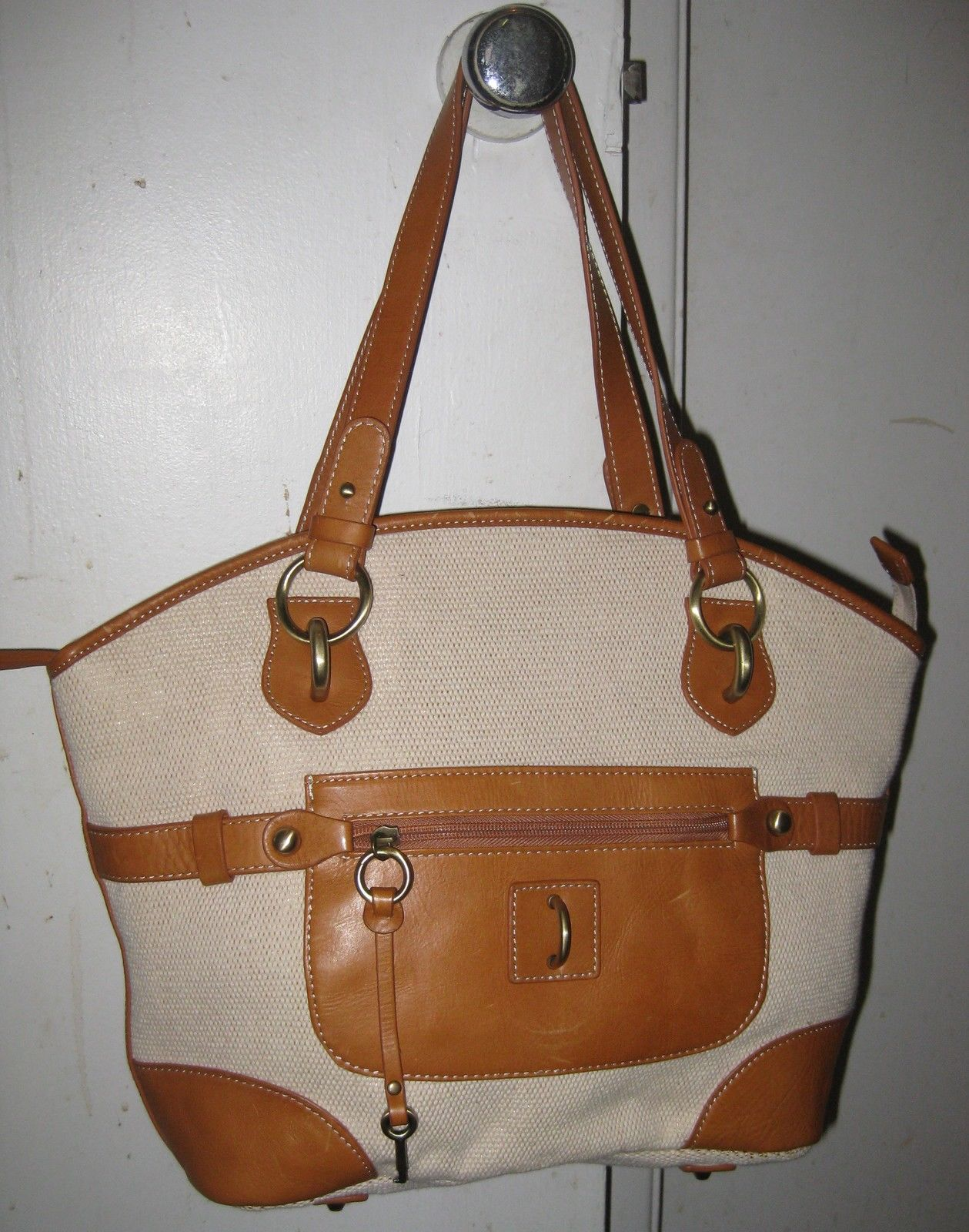 GIANI BERNINI SHOULDER HANDBAG TEXTILE WITH GENUINE LEATHER TRIM, LARGE.