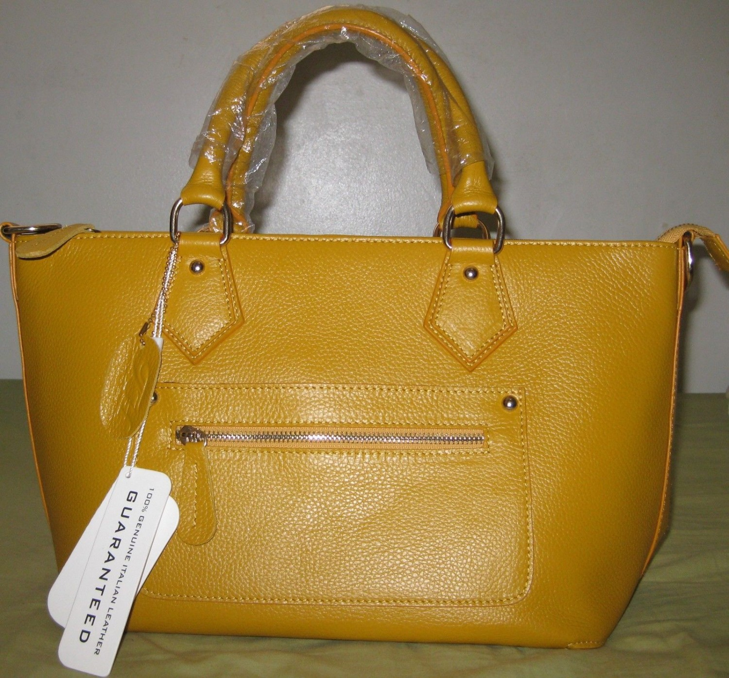 ITALIAN GENUINE GRAIN COW LEATHER HANDBAGS YELLOW COLOR