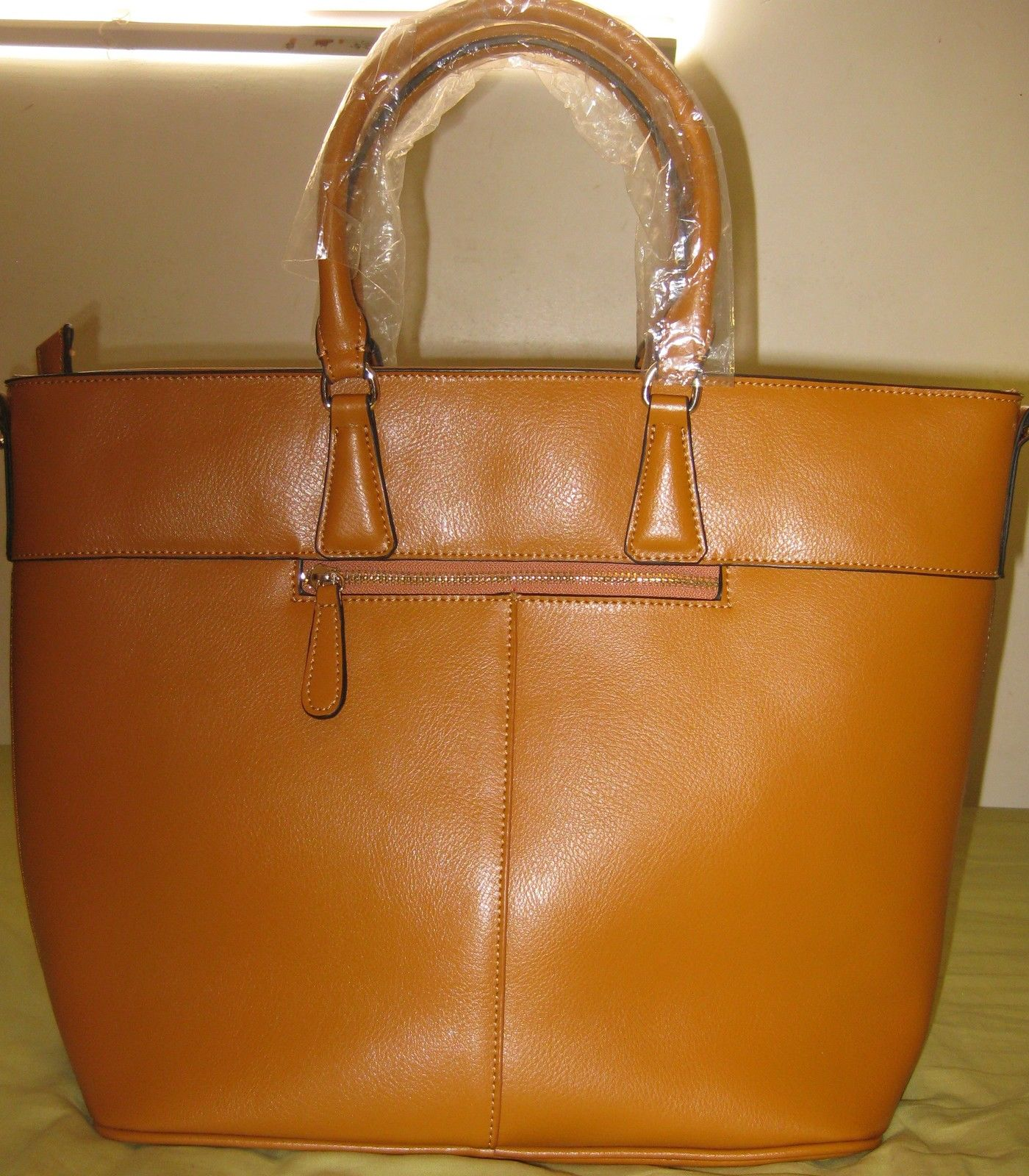 ITALIAN GENUINE NAPPA LEATHER HANDBAGS YELLOW BROWN