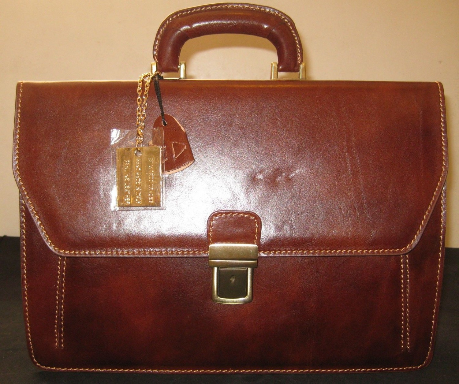 Italy Briefcase Leather- Romberg - Handmade In Tuscany- Brown Color.