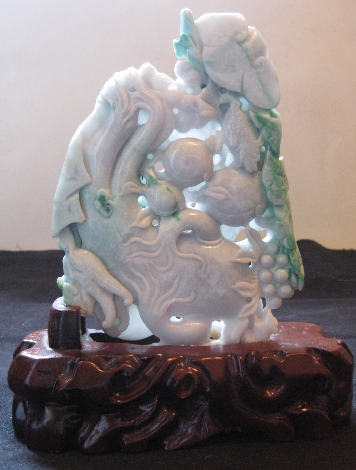 Chinese Natural Jadeite Carved Good Luck, Ginseng & Longevity Peach Statue.